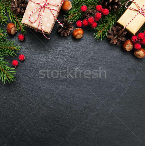 Christmas vakantie boom decoratie zwarte steen Stockfoto © almaje
