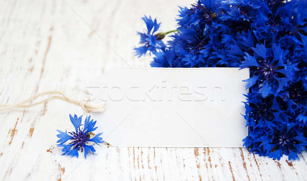 Cornflowers and white card Stock photo © almaje