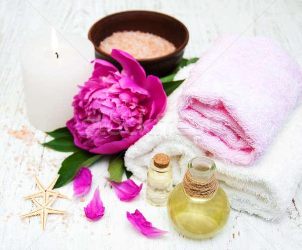 Foto stock: Flores · masaje · óleos · toallas · cuerpo