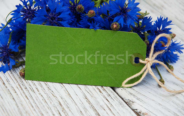 paper tag with  cornflowers Stock photo © almaje