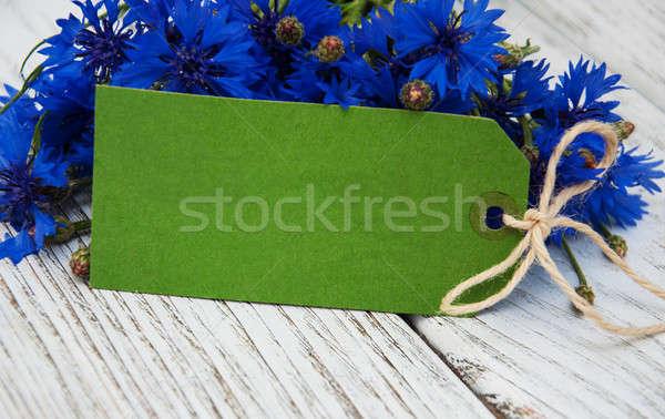 бумаги тег синий свежие деревянный стол фон Сток-фото © almaje