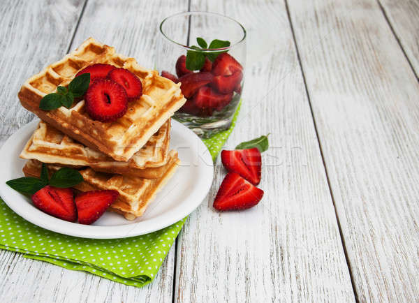 belgian waffles with strawberries and mint Stock photo © almaje