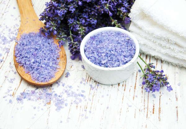 Stockfoto: Lavendel · spa · zeezout · handdoek · houten · bloemen
