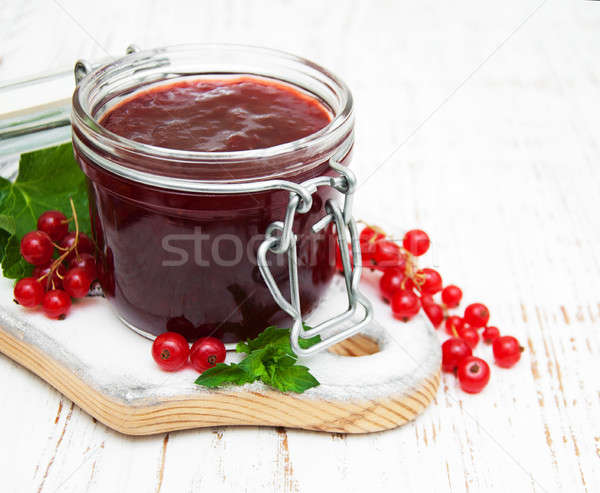 Stock photo: Redcurrants jam