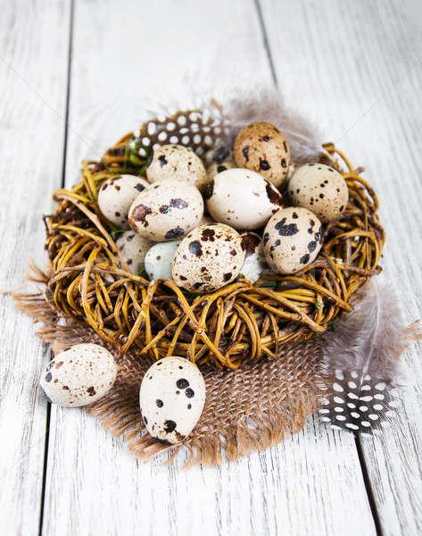 Stock foto: Eier · Nest · alten · Holztisch · Essen · Gesundheit