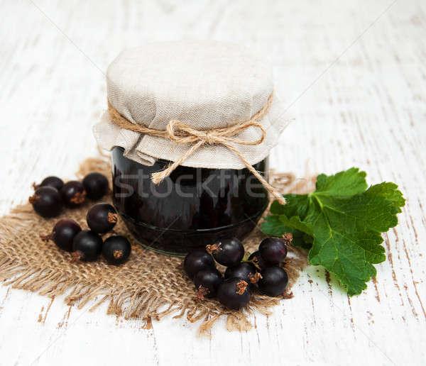 Lekvár friss bogyók fából készült étel otthon Stock fotó © almaje
