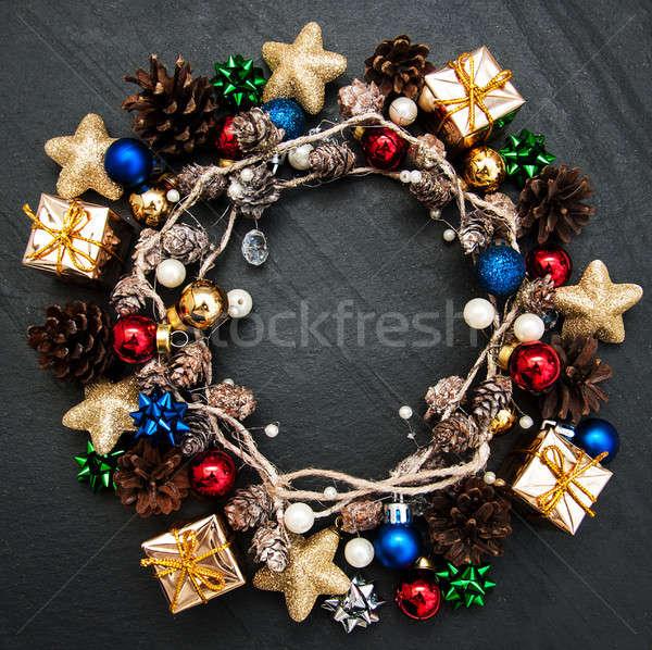 Christmas vakantie decoratie zwarte steen boom Stockfoto © almaje