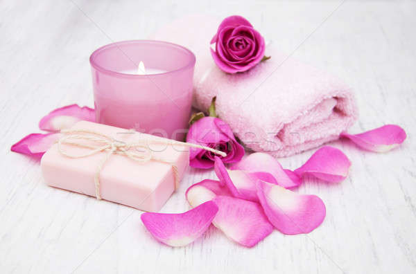 Bath towels and soap with pink roses Stock photo © almaje
