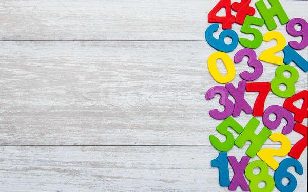 Kleurrijk houten nummers oude kind onderwijs Stockfoto © almaje