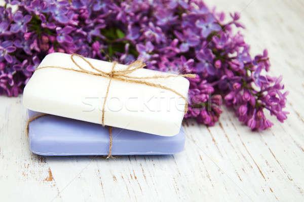 Természetes szappan orgona virágok kézzel készített fából készült Stock fotó © almaje