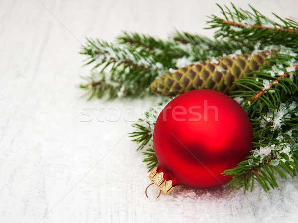 Noel dekorasyon önemsiz şey şube çam ağacı dizayn Stok fotoğraf © almaje