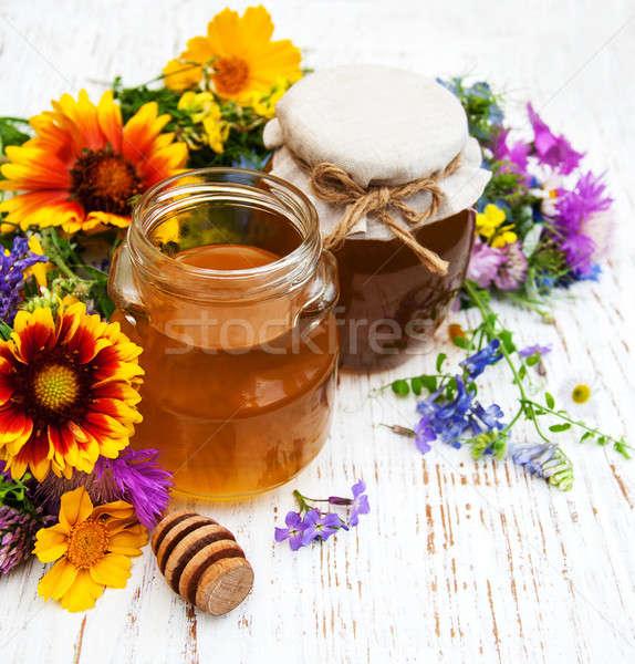 Mel flores silvestres flor natureza tabela Foto stock © almaje