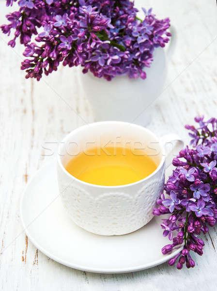 Кубок чай сирень цветы старые Сток-фото © almaje