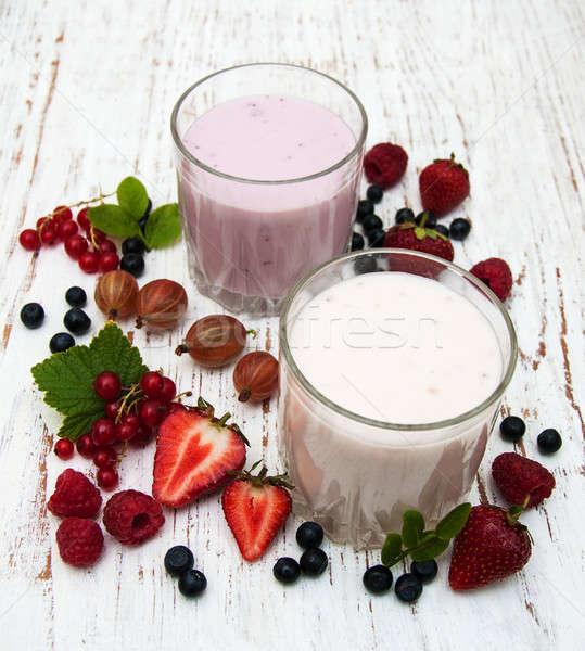 Yogurt with fresh berries Stock photo © almaje