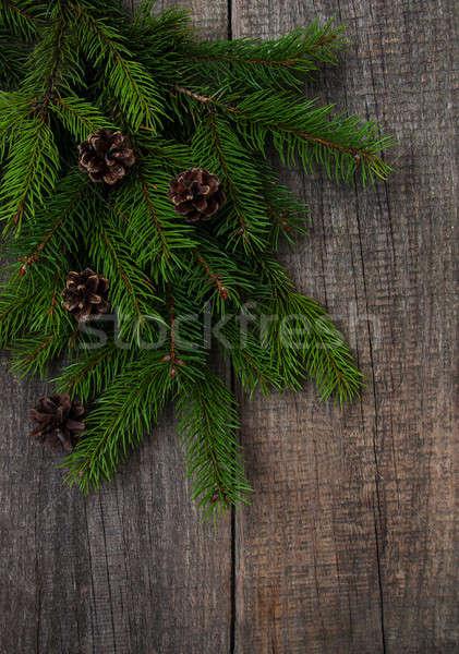 Christmas vakantie boom houten tafel natuur frame Stockfoto © almaje