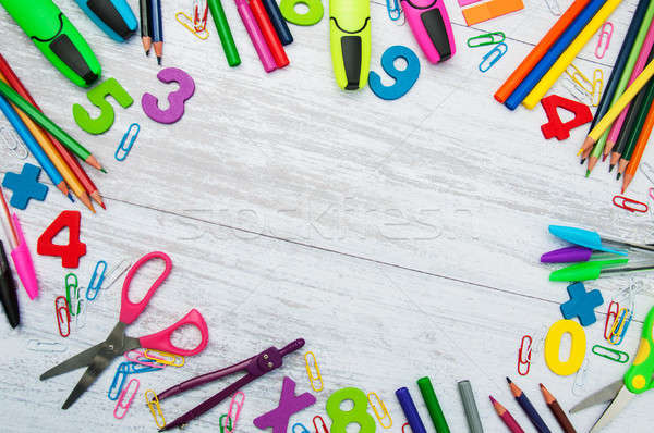Terug naar school school pen student potlood Stockfoto © almaje