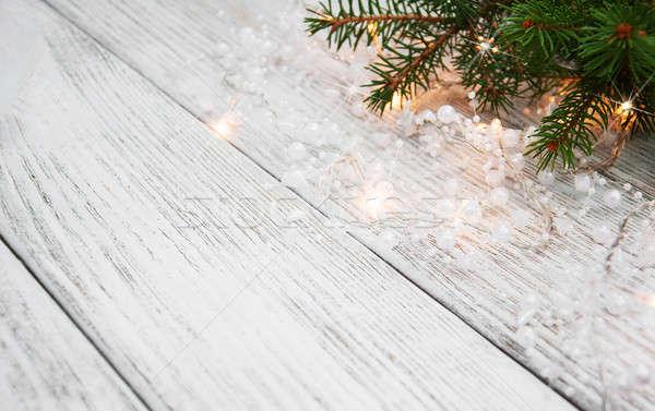 árvore de natal ramo luzes madeira projeto Foto stock © almaje