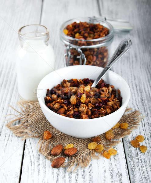 Ev yapımı granola fındık süt bal ahşap masa Stok fotoğraf © almaje
