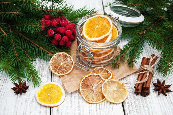 Jar secado naranjas Navidad decoraciones alimentos Foto stock © almaje