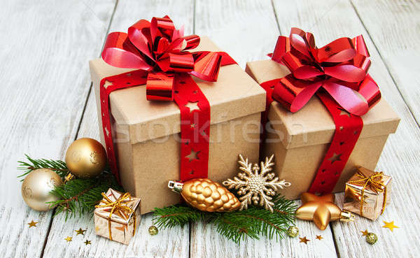 Christmas Present Decoration.Christmas Gift Boxes And Decorations Stock Photo C Olena
