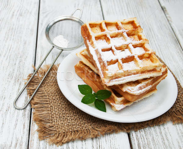 belgian waffles on the table Stock photo © almaje