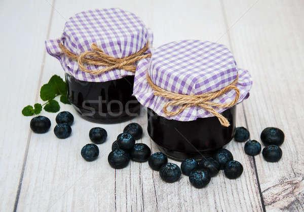 банку черника Jam таблице фрукты стекла Сток-фото © almaje