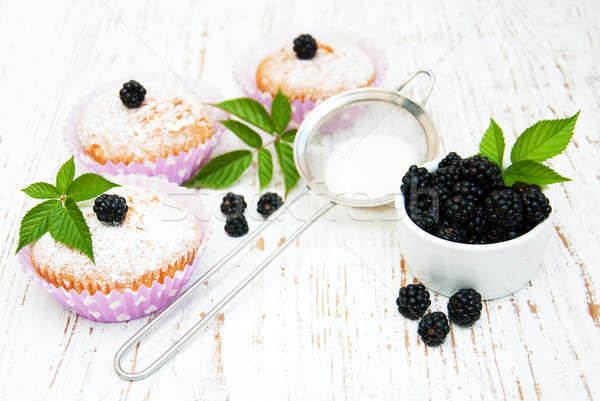 muffins with blackberry Stock photo © almaje