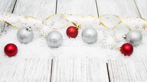 Сток-фото: Рождества · лента · снега · красный · серебро