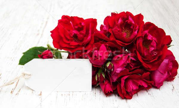 Rózsák kártya rózsaszín öreg fából készült virág Stock fotó © almaje