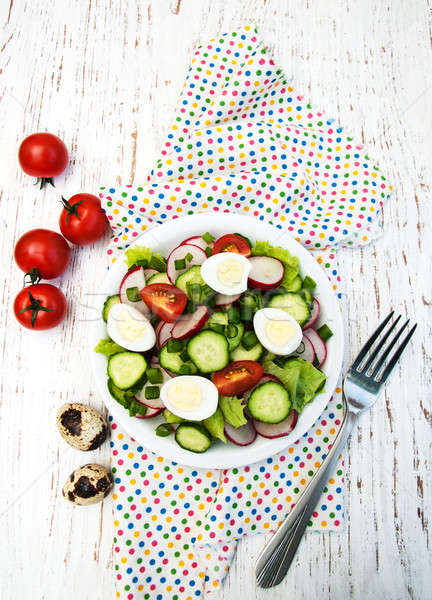 Bahar salata yumurta domates salatalık turp Stok fotoğraf © almaje