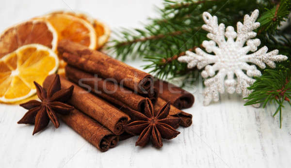 different kinds of spices and dried oranges Stock photo © almaje