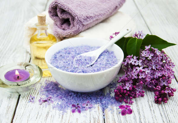 Spa setting with lilac flowers Stock photo © almaje