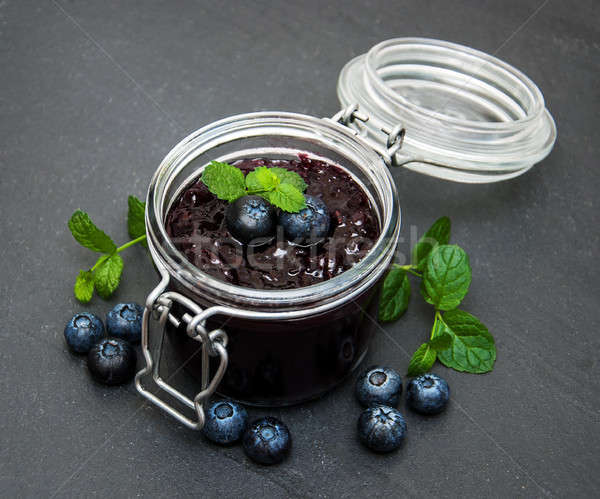 Jar with blueberry jam Stock photo © almaje