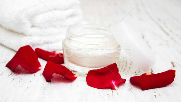 moisturizing cream and rose petals  Stock photo © almaje