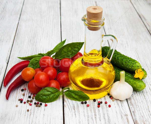 Foto stock: Azeite · velho · mesa · de · madeira · folha · fruto