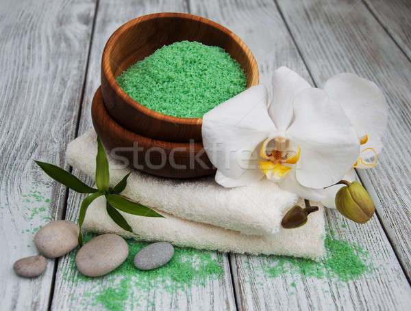 Spa products and white orchids Stock photo © almaje