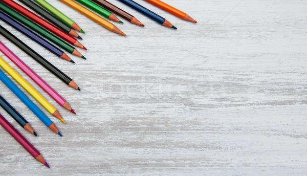 Kleurrijk school potloden oude houten potlood Stockfoto © almaje