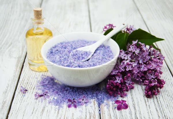 Spa liliowy kwiaty masażu produktów zdrowia Zdjęcia stock © almaje