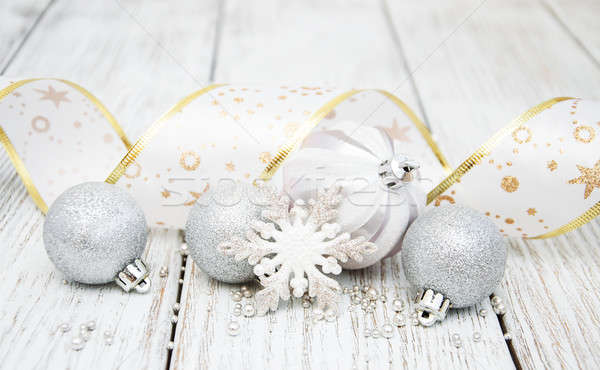 decoration of silver christmas baubles Stock photo © almaje