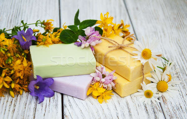 herbal  treatment - camomile, tutsan and soap Stock photo © almaje