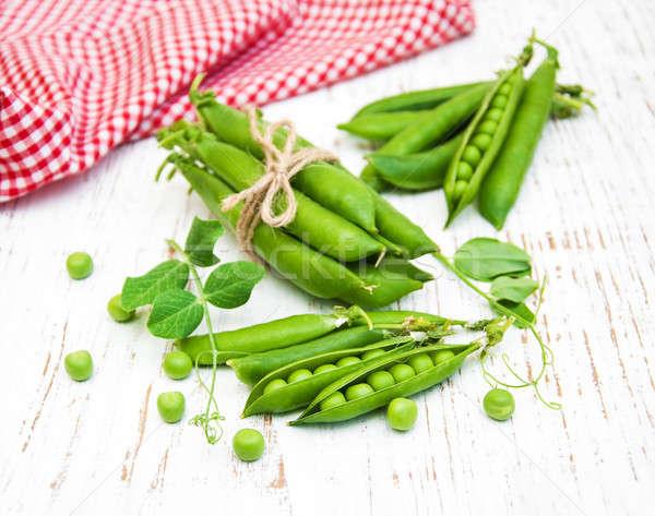 Foto stock: Verde · ervilhas · folha · velho · comida