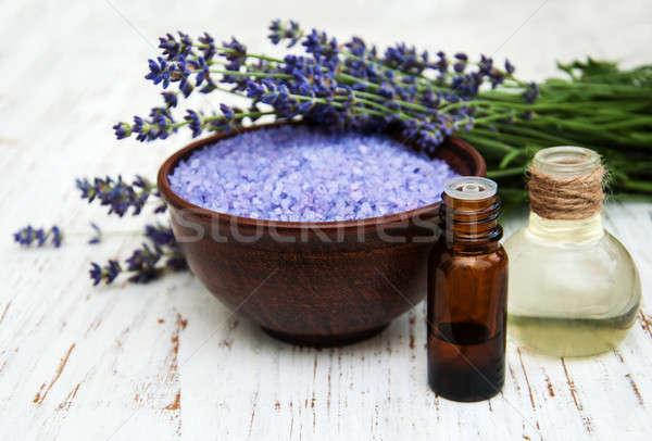 Lavendel zeezout olie houten bloemen licht Stockfoto © almaje