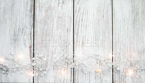 Noël guirlande lumières bois rustique bois Photo stock © almaje