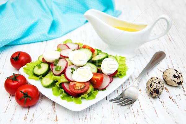Bahar salata yumurta salatalık turp ahşap Stok fotoğraf © almaje