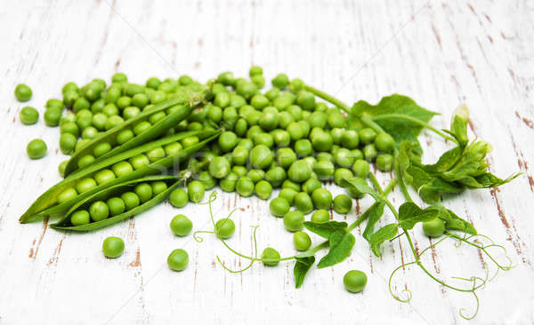 Foto stock: Verde · ervilhas · folha · flor · velho