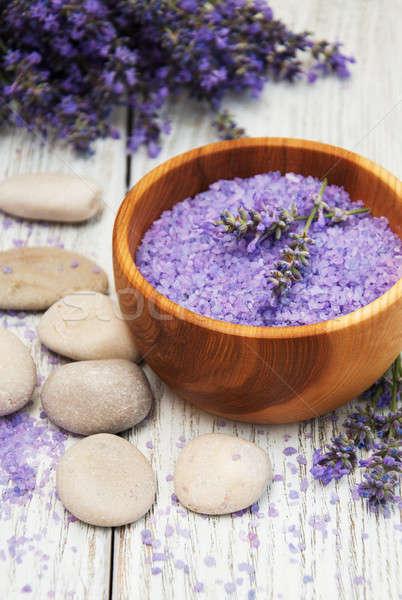 Lavender and massage salt Stock photo © almaje