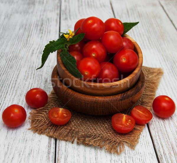 Stock fotó: Tál · friss · paradicsomok · öreg · fa · asztal · természet