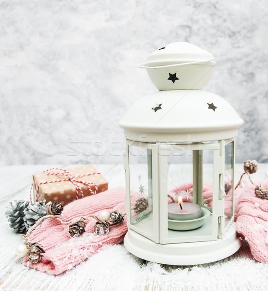 Natal lanterna decorações tabela madeira luz Foto stock © almaje