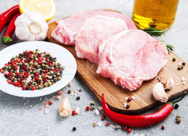 Vers ruw varkensvlees specerijen kruiden steen Stockfoto © almaje