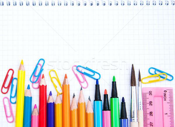 Notebook tanszerek fehér különböző papír fa Stock fotó © almaje